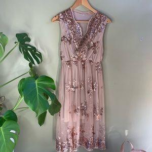 Dresses & Skirts - Sparkle Blush Sequin Mesh Overlay Dress M